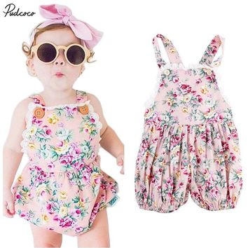 2017 NEW ARRIVAL Infant Kids Rompers Toddler Baby Girl Clothing Strap Flower Casual Cute Backless Jumper Romper Jumpsuit Summer