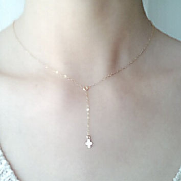 Gold Cross Rosary Lariat Necklace, 14k gold filled Cross, Gold Cross Necklace, Communion Gift, Bridesmaid Jewelry,dainty rosary