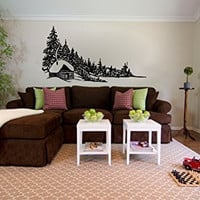 Log Cabin and Pine Trees Vinyl Wall Decal Sticker Graphic