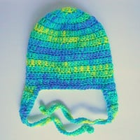 Infant Boy  Hat With Earflaps And Ties Baby Girl Cap  Winter Beanie 6 To 12   Months   Blue Green Yellow Fall Skullcap