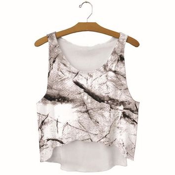summer womens marble printed show hilum tank top slim sports vest gift 53  number 1