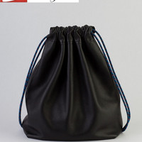Unisex Cow Leather Drawstring Backpack