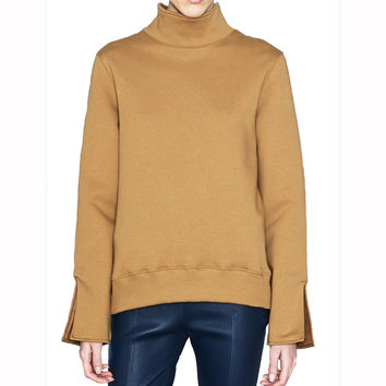 Acne Studios Lee Camel Fleece Mock Turtleneck Top