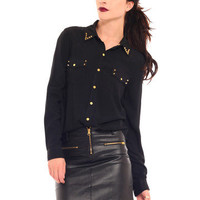 GYPSY WARRIOR - Gold Studded Blouse