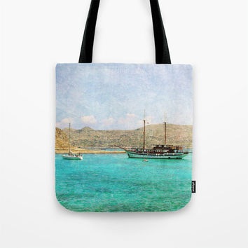 Art Tote Beach Bag At Sea 1 photography summer Fashion photo photograph Mediterranean texture ocean aqua sky blue beach nautical ship boats
