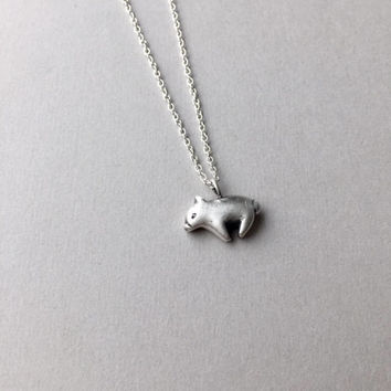 Little Pig Pendant, Tiny Pig Necklace, Farm Animal Jewelry, Silver Piglet, Pig Charm Jewelry, Animal Lover Gifts, Animal Totem, Pet Loss