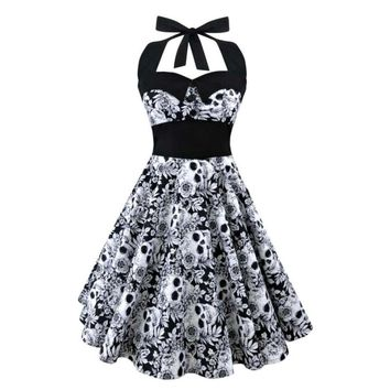 Summer New S-5XL Plus Size Dress Women Punk Strapless Halter Party Dresses Bowknot Self Gothic Vestidos Clothing Swing