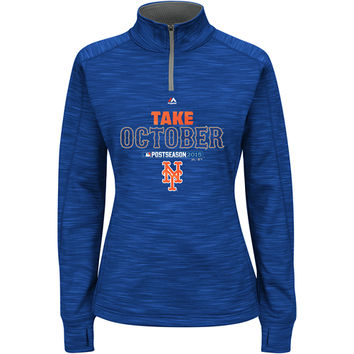 New York Mets Women's 2015 Authentic Collection Postseason Participant 1/4 Zip by Majestic Athletic - MLB.com Shop