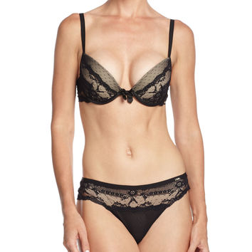 Idole Lace Push-Up Bra, Black, Size: