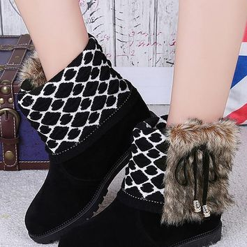 New Black Round Toe Flat Faux Fur Patchwork Casual Ankle Boots