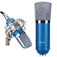 EXCELVAN® Condenser Microphone Recording Mic with Shock Mount BM-700 Ideal for Radio Broadcasting Studio, Voice-over Sound Studio and Recording-Blue