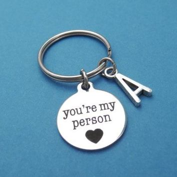 Personalized key ring, Letter, Initial, You're my person, Heart, key ring, Grey's Anatomy, Love, Custom, Alphabet, Leter, Jewelr