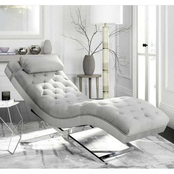Safavieh Monroe Glam Grey/ Silver Chaise | Overstock.com Shopping - The Best Deals on Living Room Chairs
