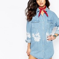 Liquor & Poker Oversized Denim Tunic Shirt Dress With Floral Embroidery