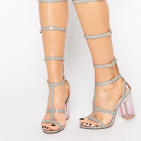 Public Desire Hattie Gray Clear Heel Caged Gladiator Heeled Sandal