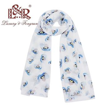 2018 Print Floral Bird Silk Scarf Women Long Cotton Scarves Warm Wrap Shawl Foulard Female Design Bufanda Mujer Bandana Hijiab