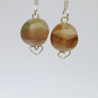 Sterling Silver Brown Earrings with Fancy Jasper Gemstone Beads, Free Shipping anywhere in the USA