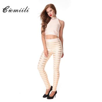 CIEMIILI 2017 New Women Back Design Oil Print Striped Bandage Jumpsuit 2 Pieces Set Party Celebrity Sexy Bodysuits Free Shipping
