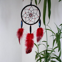 2.8 inch Black and Red Dreamcatcher - Wallhanging Home Decoration - Car Rear View Mirror Decor - Gothic Dream Catcher - Car Accessory