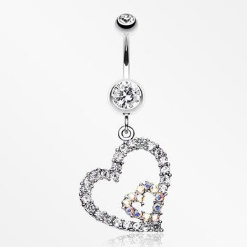 Precious Hearts Sparkle Belly Ring