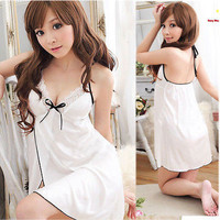 Women Ladies Sexy Lingerie Lace Dress Nightgown White Sleepwear G string