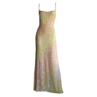 Exceptional Vintage Frank Usher Crystals & Sequins Rainbow Gown
