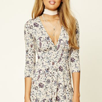 Floral Print Cutout Mini Dress