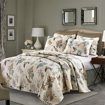 Queen 3-Piece Cotton Quilt Bedspread Set with Floral Birds Pattern