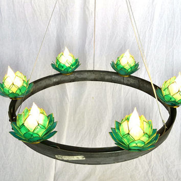 HALO Lotus Blossom Chandelier Medium- 100% RECYCLED from Napa Wine Barrels