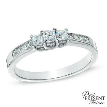 1 CT. T.W. Princess-Cut Diamond Three Stone Engagement Ring in 10K White Gold - View All Rings - Zales