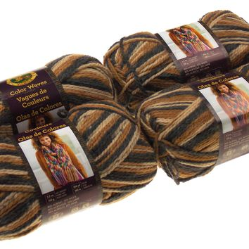 Lion Brand Yarns Color Waves Tigers Eye Brown Lot 4 Acrylic Wool Knit Crocheting