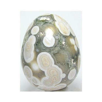 Ocean Jasper Polished Gemstone Egg Ivory White and Green Semiprecious Carving 50 mm 2 inches