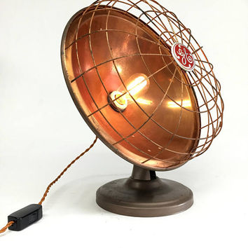 Industrial Lamp, GE Heat Lamp, General Electric Desk Lamp, Man Cave Lamp, Vintage Desk Lamp, Copper Lamp, Repurposed Lamp, Office Lamp