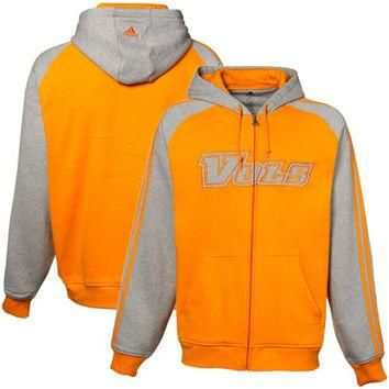 adidas Tennessee Volunteers Tennessee Orange-Ash Raglan Full Zip Hoodie Sweatshirt