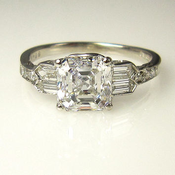 GIA Art Deco 2.53ct Antique Vintage Asscher Cut Diamond Engagement Ring in PLATINUM, Circa1920