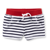 4th Of July Terry Striped Pull-On Shorts
