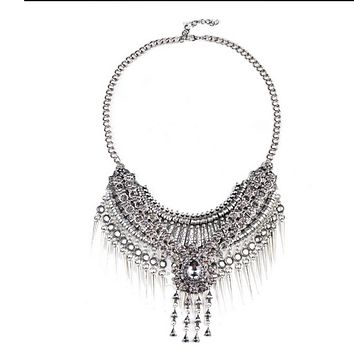 European Exaggerated Big Brand Foreign Trade Necklace Vintage Zircon Flower Tassel Two-layer Necklace Woman    old silver black zircon