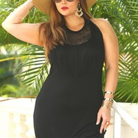 Women's Plus Size Cover Ups - Always For Me Cover Fringe Neckline Maxi Dress
