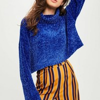 Missguided - Blue Chenille Cropped Sweater