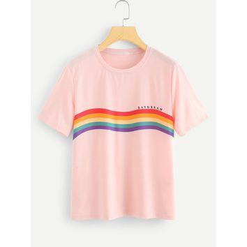 Rainbow Stripe Print T-shirt Pink
