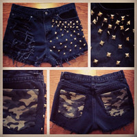 Custom high waisted distressedwithlove shorts with spikes, studs and camo