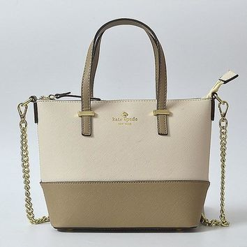 Hot Sale Kate Spade New York Women Fashion Shopping PU Tote Handbag Shoulder Bag Color Off White & Khaki