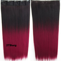 "Dip dye hairpieces New Fashion 24"" Women Clip in on gradient wig Bath & Beauty Hair Ombre Hair Extensions Two Tone Straight hair Gradient Hair Extension Colorful Hairpieces GS-666 2TBurg,1PCS"