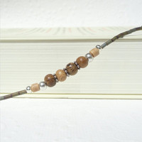 Wood Eyeglass Chain, Silver Eyeglass Holder Necklace, Reading Glasses Chain, Beaded Lanyard