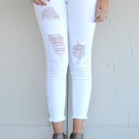 Just Black Distressed Fray Skinnies - White