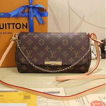 LV Women Shopping Leather Metal Chain Crossbody Lady Satchel Shoulder Bag Print Bag