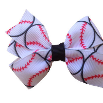 Baseball hair bow - baseball bow, sports bow