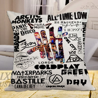"Artic Monkeys, All Time Low, 5sos, FOB, Taylor Swift, Ed Sheeran, Paramore, Panic At The Disco on square pillow cover 16"" 18"" 20"""