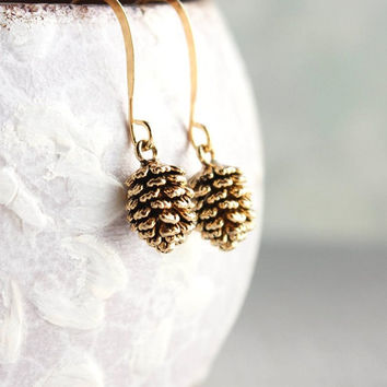 Rustic Gold Pinecone Earrings, Pine Cone earrings, Nature Jewellery, Woodland Wedding, Gift for Women, Small Drop Earring, Nickel Free