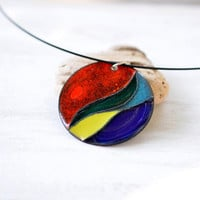 Enamel necklace - handmade necklace OOAK - big round pendant - cloisonne enamel - multicolored abstract necklace - artisan jewelry by Alery